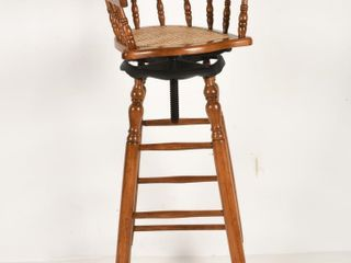 CHIlD S BARBER SHOP WOOD   WICKER CHAIR