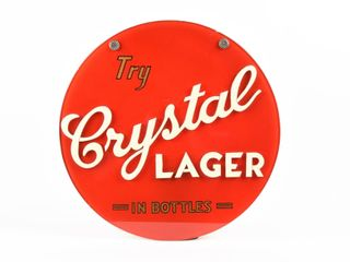 TRY CRYSTAl lAGER IN BOTTlES EMBOSSED SIGN