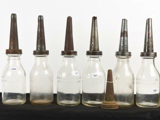 GROUPING OF 6 IMPERIAl QUART OIl BOTTlES  SPOUTS