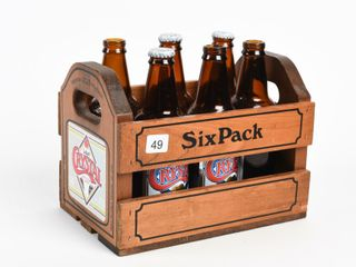 SIX PACK WOODEN BEER CRATE   6 CRYSTAl BOTTlES