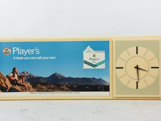 PlAYER S ADVERTISING S S PlASTIC SIGN   ClOCK