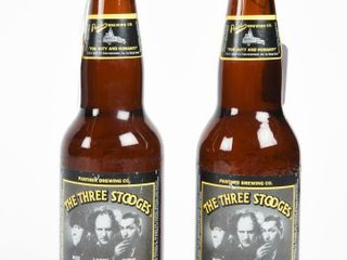 lOT OF 2 THE THREE STOOGES 341 Ml BEER BOTTlES
