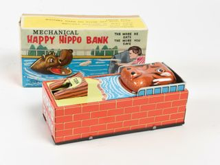 HAPPY HIPPO MECHANICAl WIND UP BANK  BOX  NOS