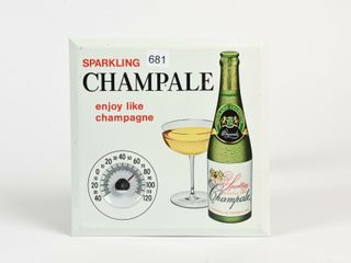 SPARKlING CHAMPAlE METAl ADV  THERMOMETER
