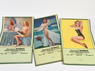 lOT OF 3 lAWRENCE S MARKET  RISQUE  PIN UP GIRlS