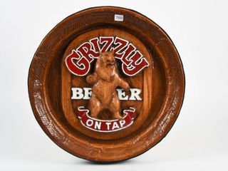 GRIZZlY BEER ON TAP S S EMBOSSED BAR SIGN