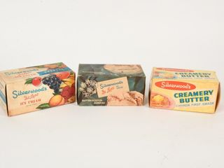 GROUPING 3 SIlVERWOOD S ICE CREAM   BUTTER CARTONS