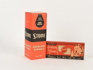 GROUPING 2 VINTAGE STONE DRINKING STRAWS BOXES