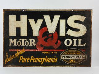 HYVIS MOTOR OIl Q D S PAINTED METAl SIGN