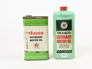 lOT OF 2 TEXACO OUTBOARD IMP  QUART OIl CANS