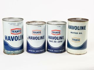 lOT OF 4 TEXACO HAVOlINE MOTOR OIl CANS
