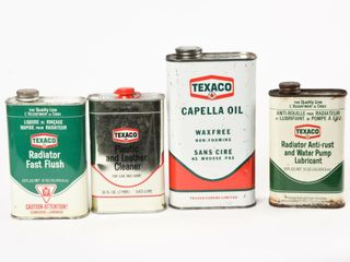 GROUPING OF 4 TEXACO CAR CARE CANS  2 FUll