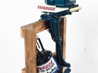 EVINRUDE MATE OUTBOARD MOTOR   GAS CAN ON STAND