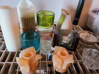 ASSORTED CANDlES and HOlDERS