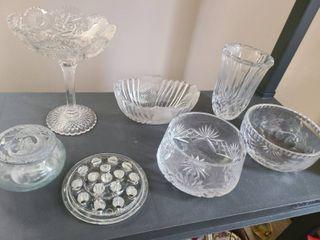 7 pcs  of Glass  BOWlS  VASE  CANDY DIsh