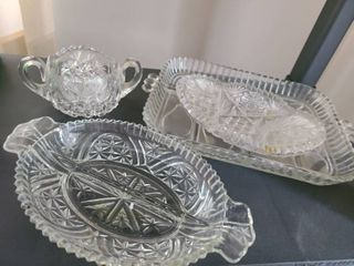 MISCEllANEOUS GlASS  Relish plate  sugar bowl  and other items