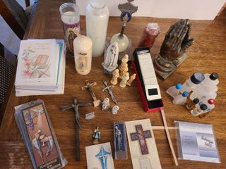 RElIGION  First Communion  Candle  Crucifix  Praying Hands BOOKENDS  Holy Water  and etc