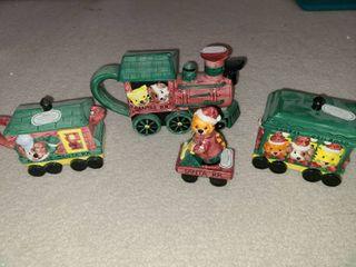 Fitz and Floyd Omnibus Christmas Animals locomotive Kitchen Set