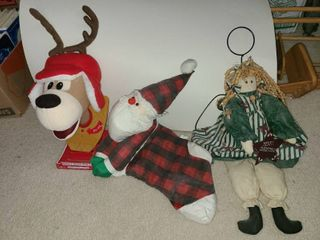 Ronnie the Reindeer with Santa Stocking and Christmas Angel