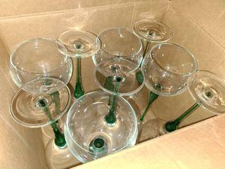 Green Glass Stemware lot of 12