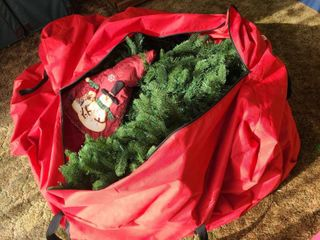 Prelit Unknown Size Christmas Tree with Tree Skirt and Santas Bags Canvas Storage Bag