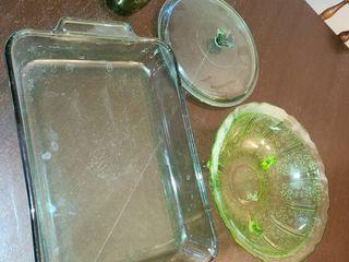 Assorted Green Colored Glassware