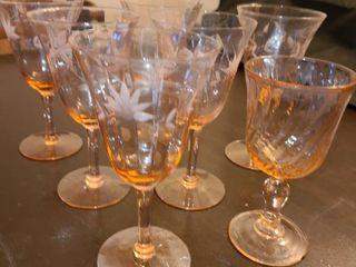 Assorted Pink Glass Stemware