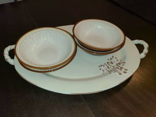 Terracotta Serving Platter and 4 Bowls