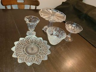 Glass Cake Stand with Assorted Glass Kitchenwares