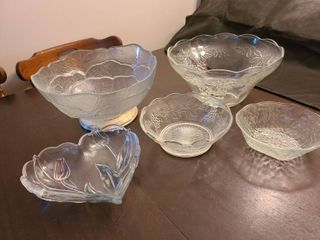 Assorted Glass Serving Bowls and Punch Bowl