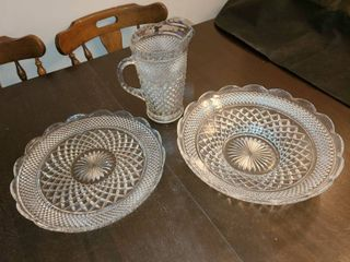 Glass Serving Tray Bowl and Pitcher
