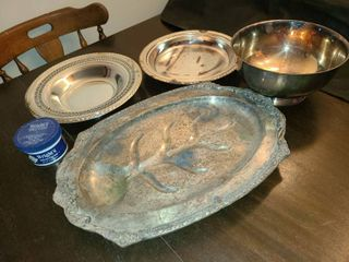 Various Silverplate Items with Wrights Silver Cream