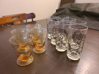 Silver Rimmed 25th Anniversary Glasses with Amber Glasses