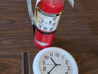 Fire Extinguisher and Clock