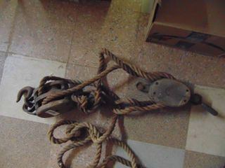 Pair of Wooden Pulleys   With Rope