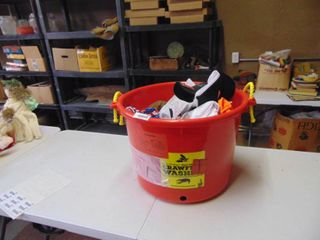 large Crawfish Cleaning Tub filled with Store Return hats and more