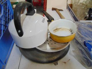 White Tea Kettle and Misc Kitchenware