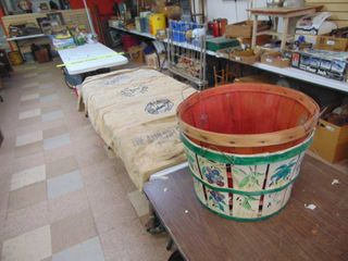 Pair of Bushel Baskets and 6 Canvas Seed Bags