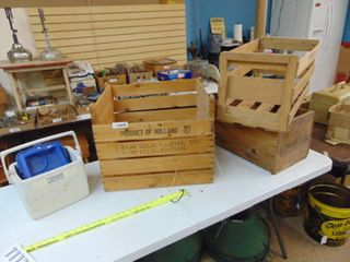 3 Wooden Crates Boxes and Personal Cooler