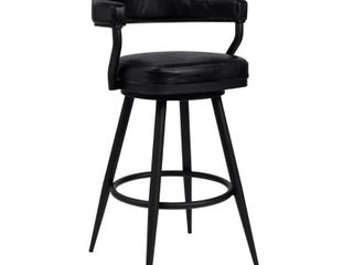 amador barstool in a black powder coated finish and vintage black faux leather Bar Height   29 32 in  Retail 248 62