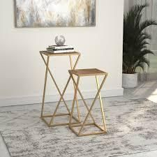 Wood Weathered Natural Silver Orchid Hillberg Weathered 2 piece Square Nesting Table Retail  148 49