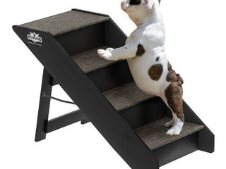 4 steps folding pet stairs carpeted foldable wood up 80 lbs by petmaker