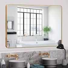 gold round corner wall mirror with aluminum alloy thin frame 32 x 24  Retail 142 49