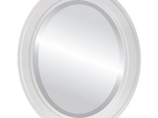 wright framed oval mirror in linen white 23x33   Medium  15 32  high  Retail 163 99