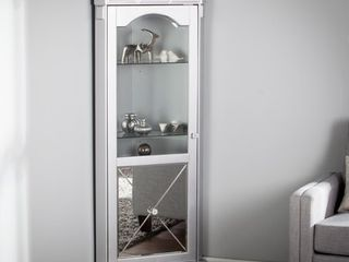 Zephyr Mirrored lighted Corner Curio Cabinet  Retail 482 99 silver