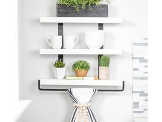 Del Hutson Designs Industrial Grace Three Tier Floating Shelves  Retail 79 98 white