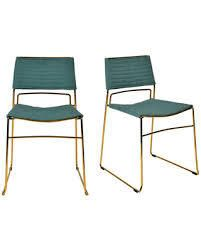 Modrest Swain Modern Green Fabric   Gold Dining Chair  Set of 2  Retail 173 99