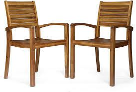 Stockton Outdoor Acacia Wood Dining Chairs Set of 2 Christopher Knight Home