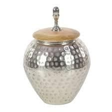 Silver Orchid Olivia Metal Wood Jar 8 inch x 12 inch brown