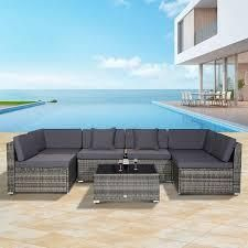 Siara 7 piece Modern Rattan Wicker Modular Sectional Patio Set by Havenside Home   Retail 679 99 3 boxes